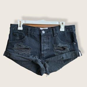 One Teaspoon distressed bandits denim shorts